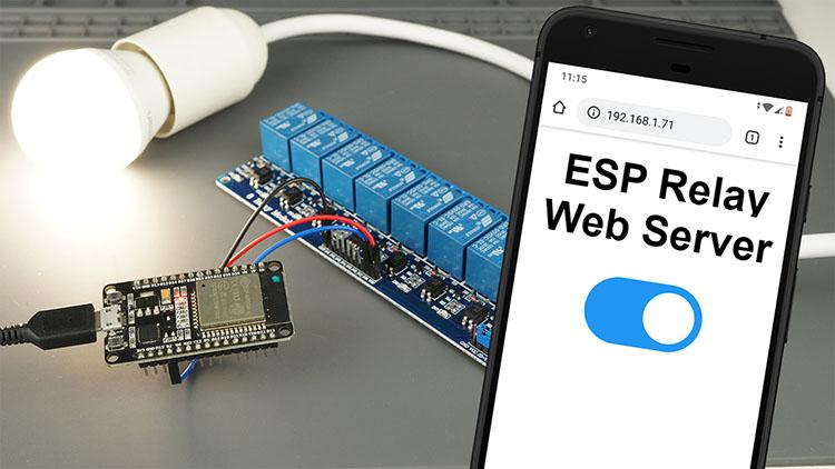 Control a relay with web server using ESP32 or ESP8266 using MicroPython firmware