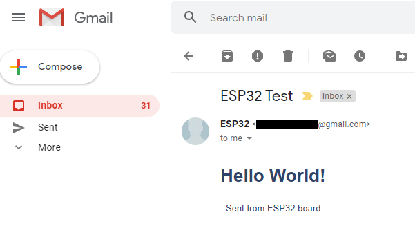 ESP32 SMTP Server Send Email with Body Text format HTML