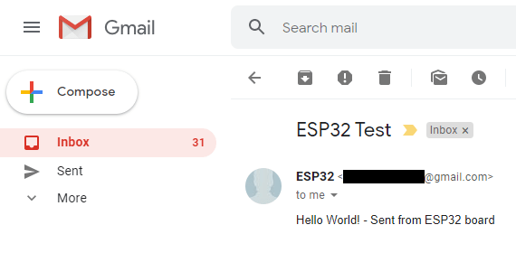 ESP32 SMTP Server Send Email with Body Text only format