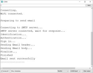ESP32 SMTP Server Send Email with Text Arduino IDE Serial Monitor