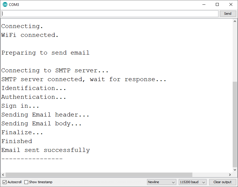 ESP32 SMTP Server Send Email with Text Arduino IDE Serial Monitor