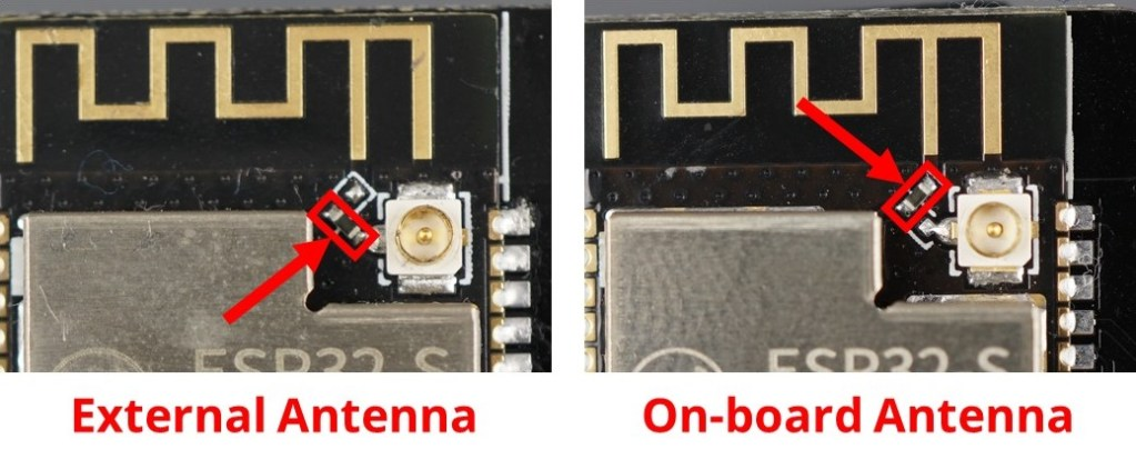 ESP32-CAM Camera AI Thinker Module External Antenna and on-board antenna