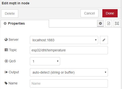 MQTT In Node ESP32 Publish Temperature Humidity Node-RED Flow