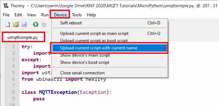 Upload umqtt library esp32 esp8266 micropython Thonny IDE