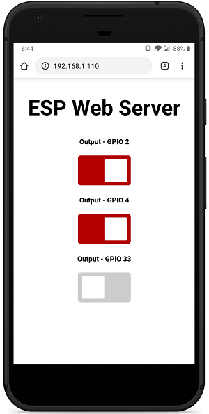 ESP32 Async Web Server Control Outputs with Arduino IDE mobile responsive web page