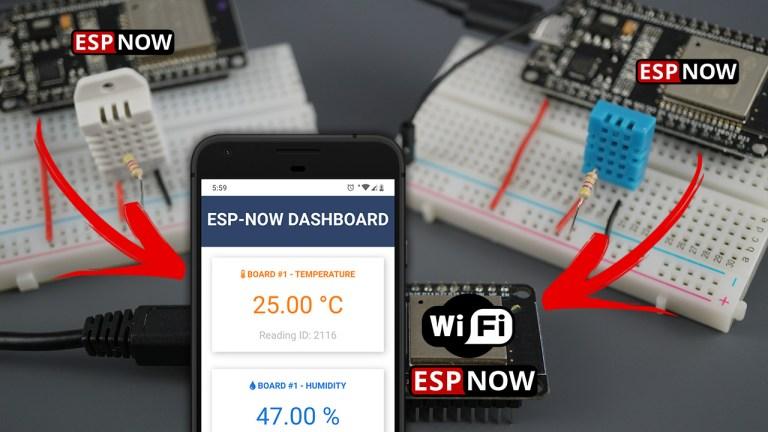 ESP32: ESP-NOW Web Server Sensor Dashboard using Arduino IDE (ESP-NOW and Wi-Fi simultaneously)