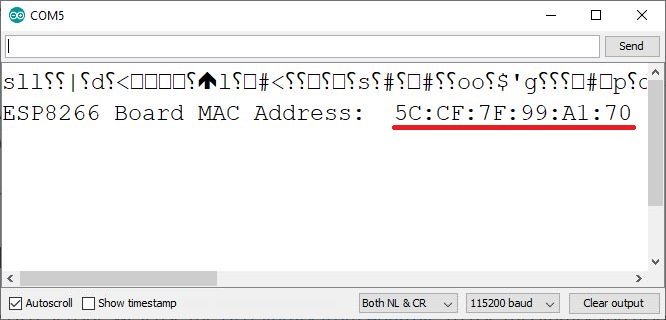 Get ESP8266 MAC Address Serial Monitor
