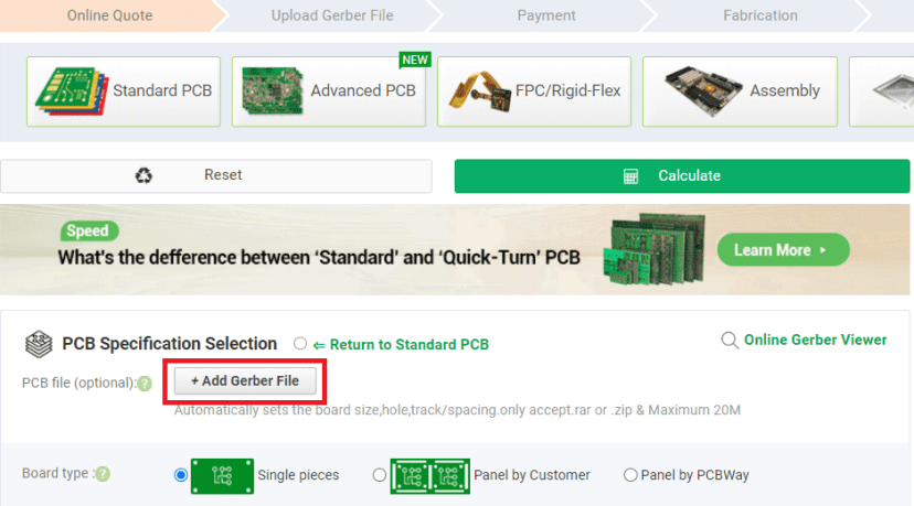 PCBWay Order PCB add gerber file button