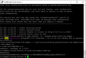 Digital Ocean Installing Node-RED generating password hash admin dashboard