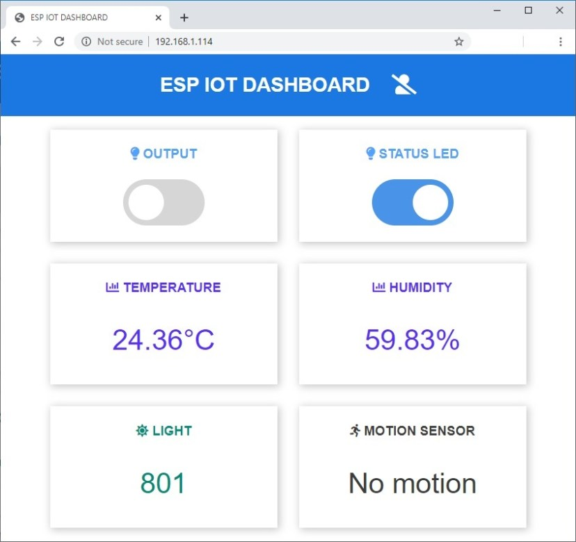 Web Server IoT Dashboard Features overview