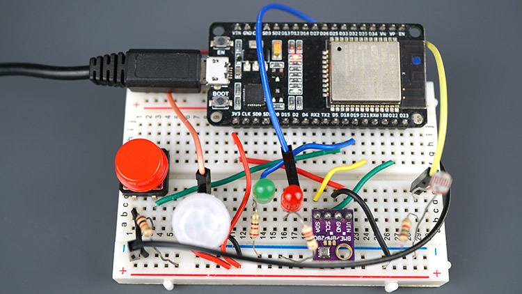 ESP32 IoT Sensor Shield circuit assembled on Breadboard
