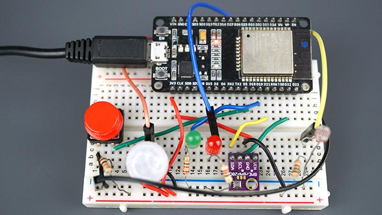 ESP32 IoT Sensor Shield circuit assembled on Breadboard