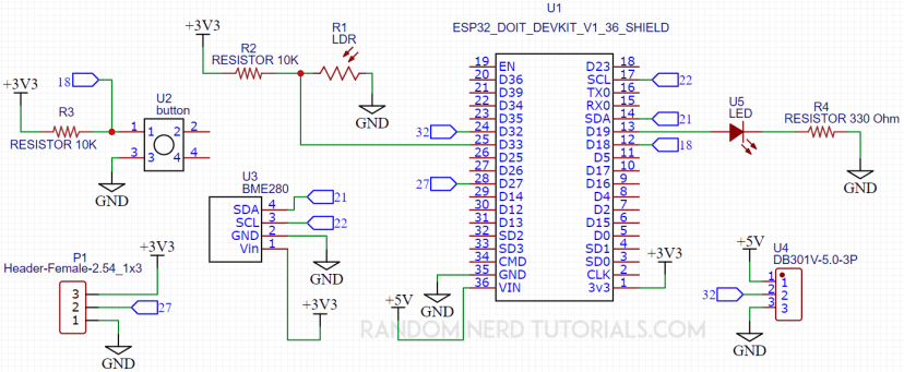 ESP32 IoT Shield PCB Schematic Circuit Diagram
