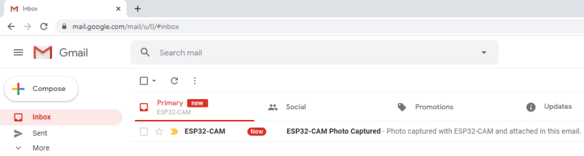 ESP32 CAM Email with Photo Received Inbox