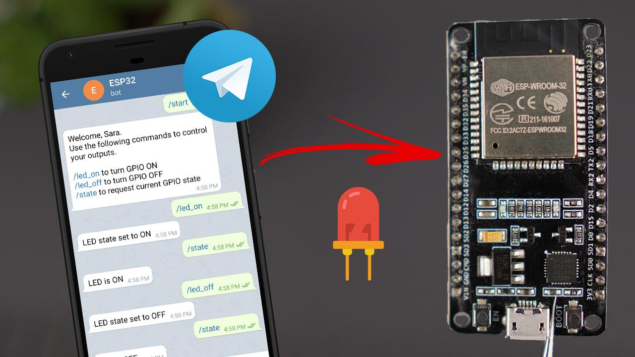 ESP32 ESP8266 NodeMCU Control Outputs LED Telegram Arduino