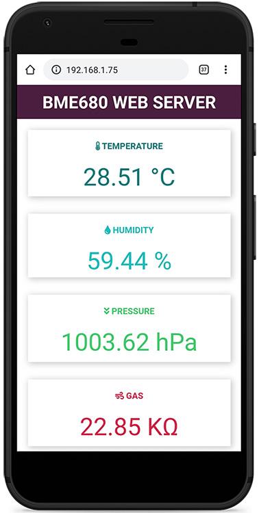 ESP32 or ESP8266 NodeMCU Board Web Server Demonstration with BME680 Gas sensor