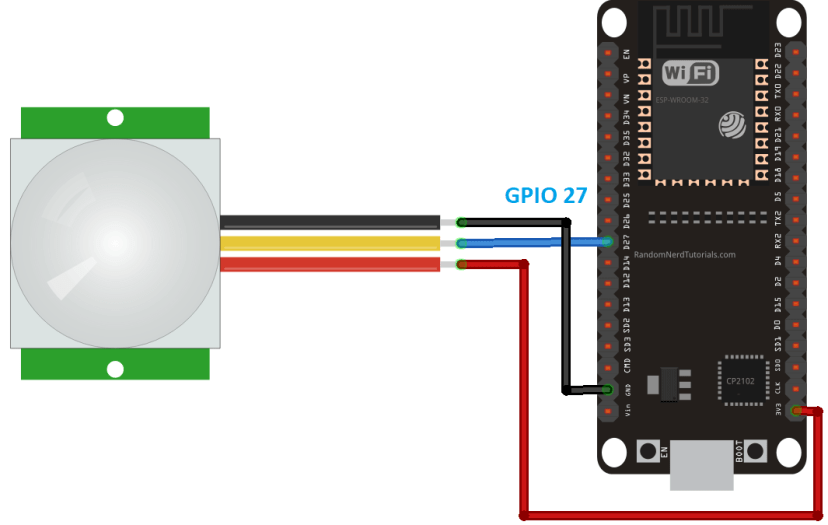 ESP32 PIR Motion Sensor Wiring Diagram