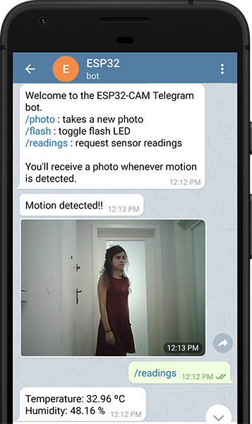 Control ESP32-CAM with Telegram Take Photos Control Outputs Request Sensor Readings and Motion Notifications Demonstration