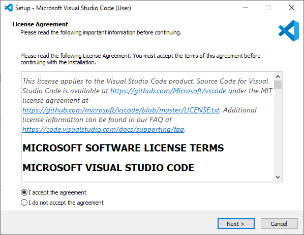 Microsoft Visual Studio Code VS Code Installation wizard