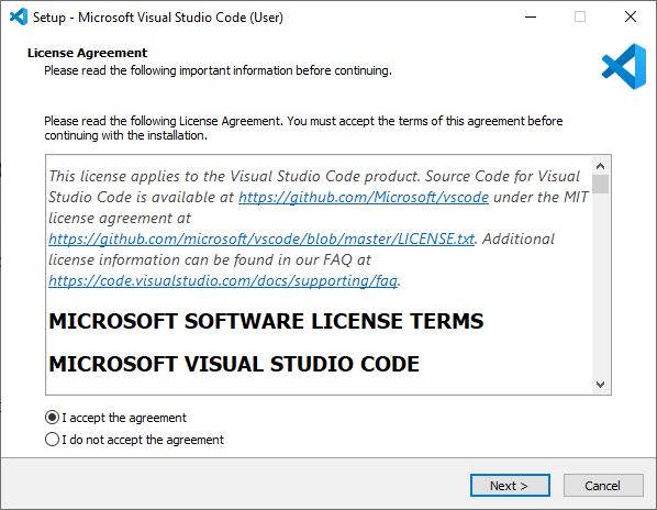 Microsoft Visual Studio Code VS Code Installation wizard