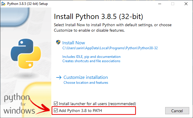 Installing Python 3.8.5 on a Windows PC and Add to Path