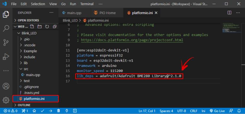 Add Library Identifier to Configuration File PlatformIO