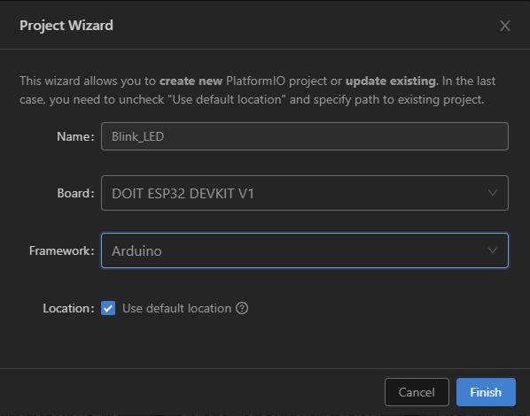 PlatformIO with VS Code Create New ESP32 Project