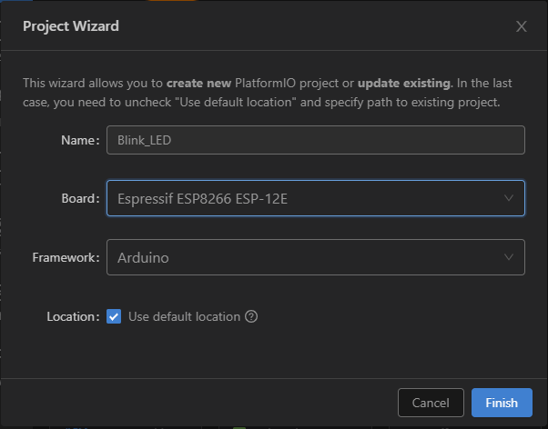 PlatformIO IDE extension with VS Code Create New ESP8266 Project
