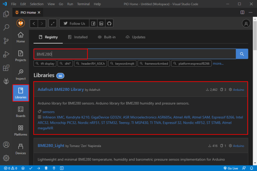 PlatformIO IDE extension VS Code Visual Studio Search for BME280 Library