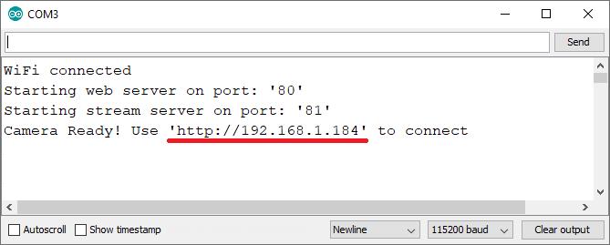 ESP32-CAM Set a Static IP Address Demonstration Serial Monitor