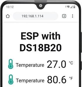 ESP32 ESP8266 MicroPython DS18B20 Temperature Web Server Demonstration