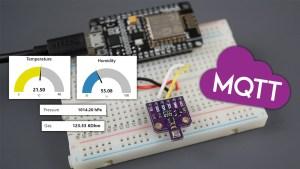 ESP8266 NodeMCU MQTT Publish BME680 Temperature Humidity Pressure and Gas Readings Arduino IDE