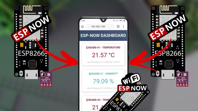 ESP8266 NodeMCU: ESP-NOW Web Server Sensor Dashboard using Arduino IDE (ESP-NOW and Wi-Fi simultaneously)