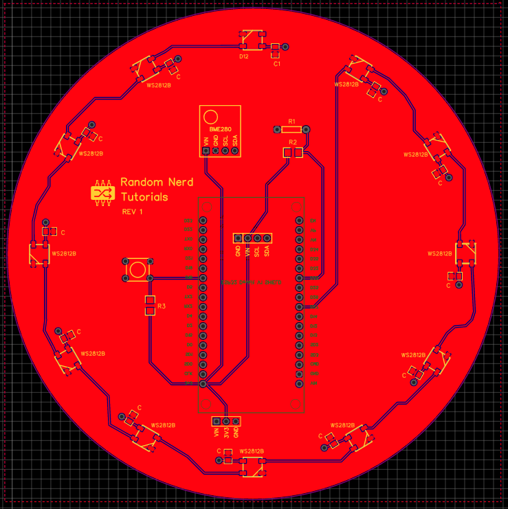 ESP32 PCB Weather Station Interface PCB Layout