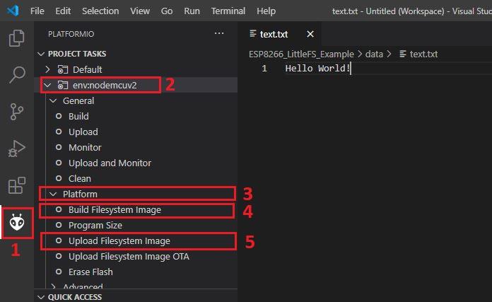 Upload Filesystem Image VS Code PlatformIO ESP8266