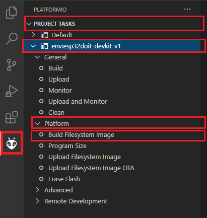 Build Filesystem Image VS Code PlatformIO ESP32