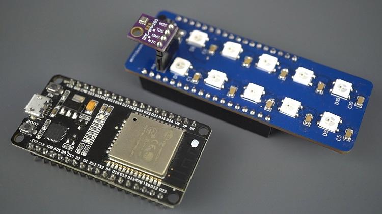 ESP32 Status Indicator and Sensor Shield PCB