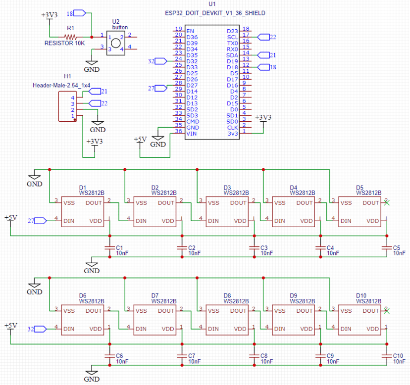 EasyEDA Circuit Diagram ESP32 Neopixel Shield PCB