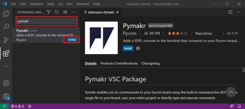 Install Pymakr VS Code Micropython Visual Studio Code