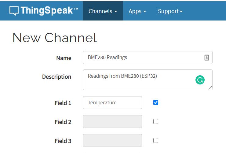 ThingSpeak Edit Add New Channel Settings Configuration