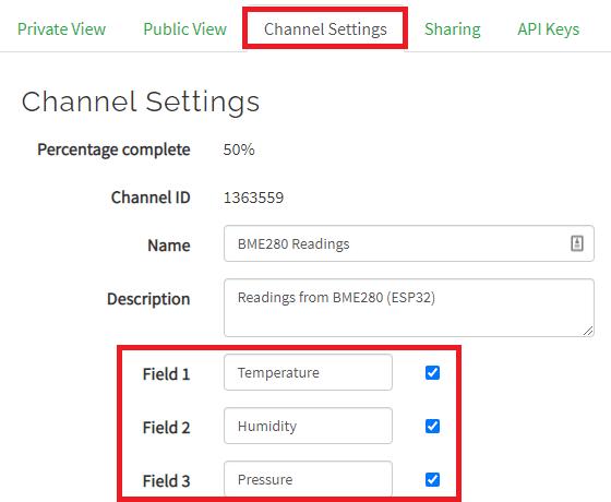 Thingspeak add new fields channel settings change