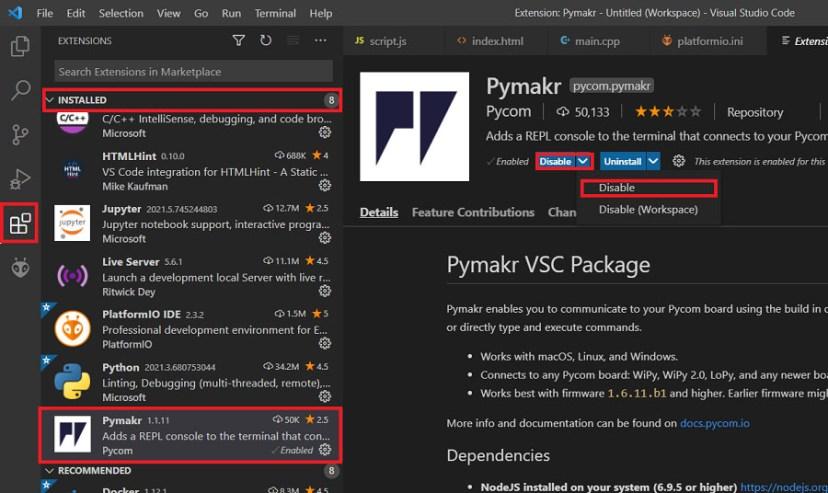 Disable Pymakr extension plugin VS Code