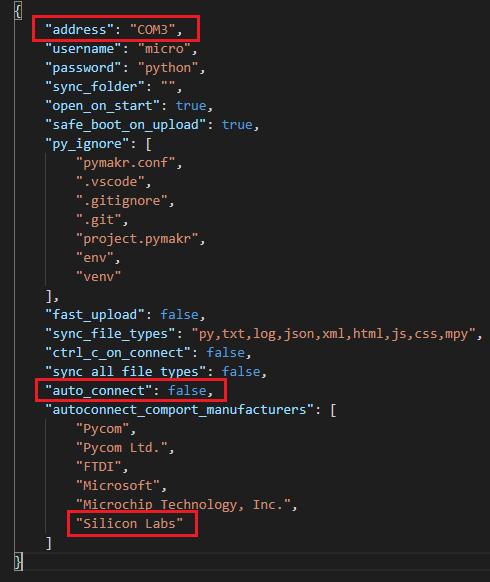 Edit configure Micrpython Pymakr pymark.json config file