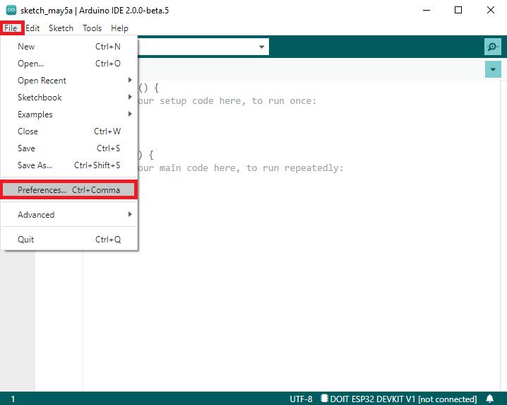 Arduino IDE 2.0 open preferences menu to install ESP32 boards