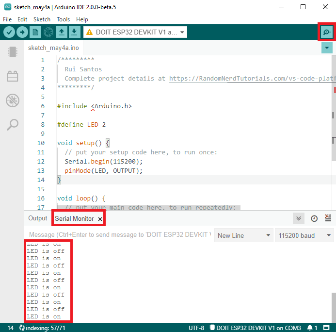Open Arduino IDE Serial Monitor Arduino IDE 2.0 ESP32