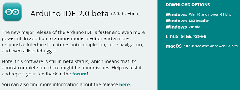 Arduino IDE 2.0 Downloads Page downloading software