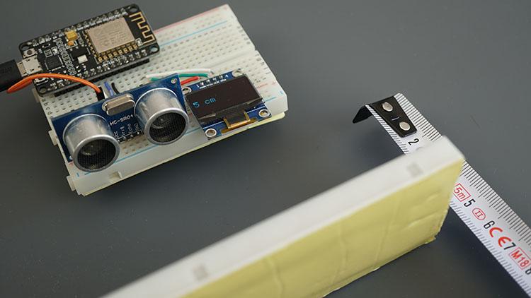 ESP8266 NodeMCU Board HC-SR04 Ultrasonic Sensor Module Arduino OLED Demonstration