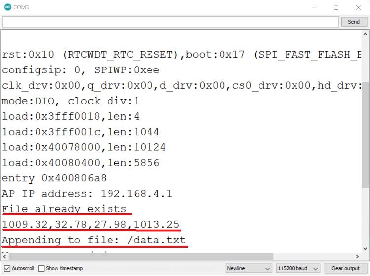 ESP32 BMP388 Altimeter Datalogger Serial Monitor Demonstration