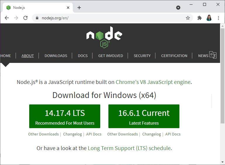 Download Node.js LTS version