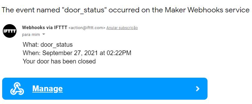 Door Status Received Email IFTTT ESP8266 NodeMCU